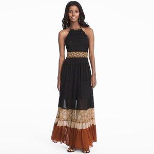 WHBM Mixed Media Colorblock Boho Maxi Dress #N10